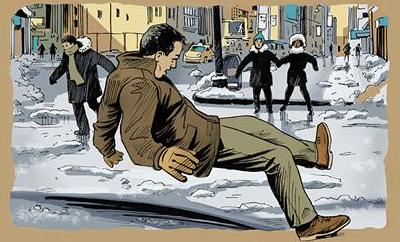 Man slipping on ice