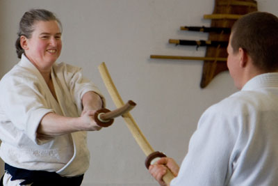 Instructor with bokken