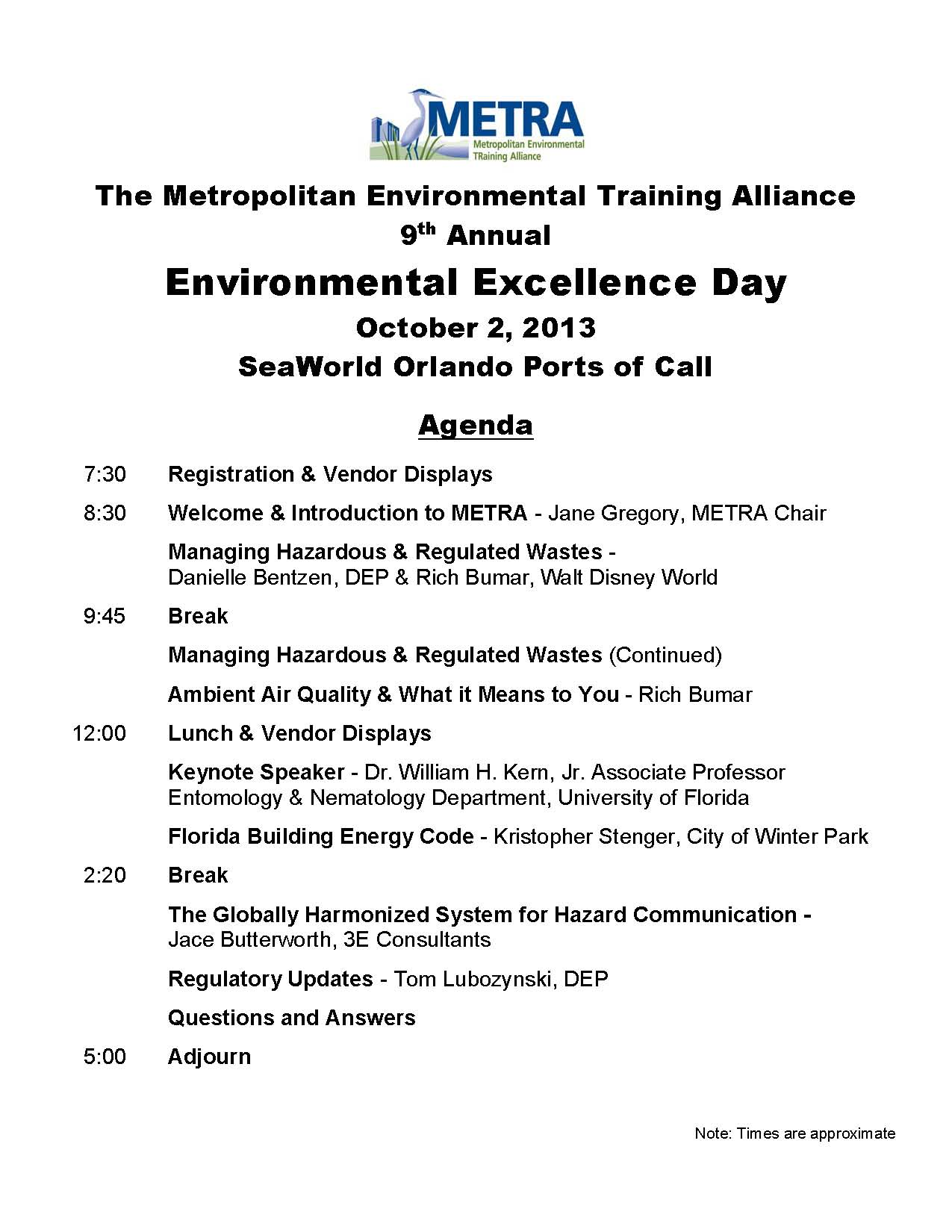 E2 Day Agenda