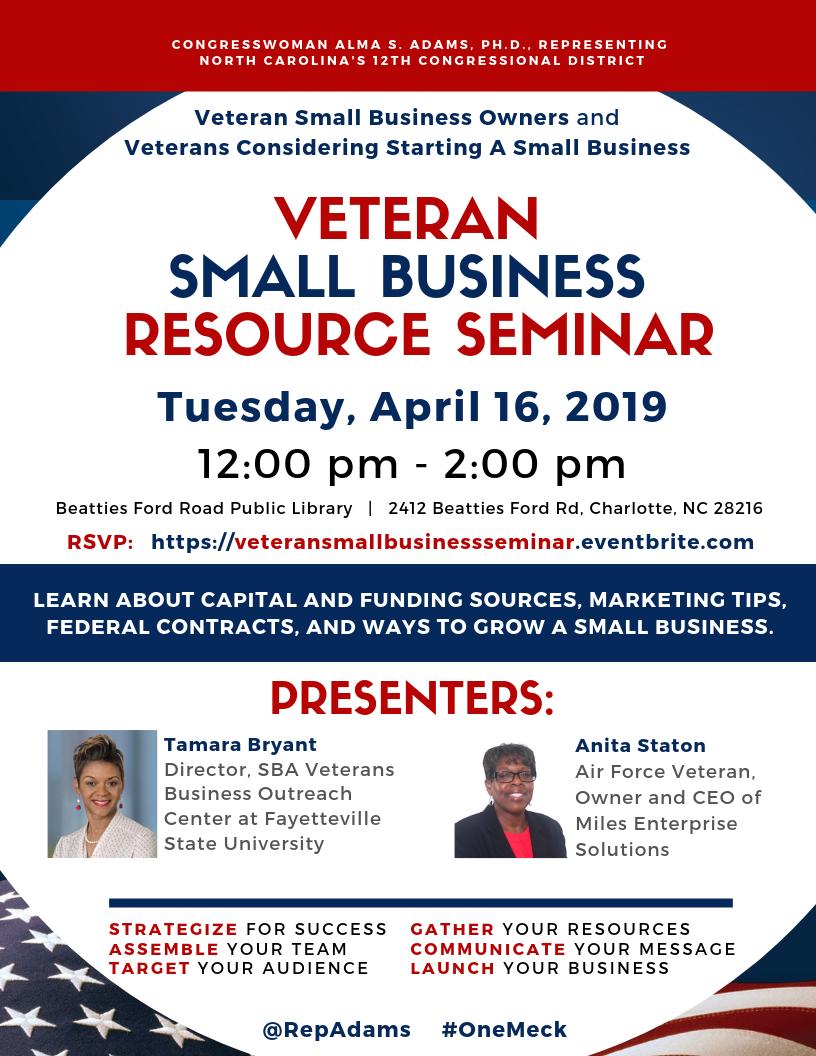NC12th District Veteran Small Business Resource Seminar