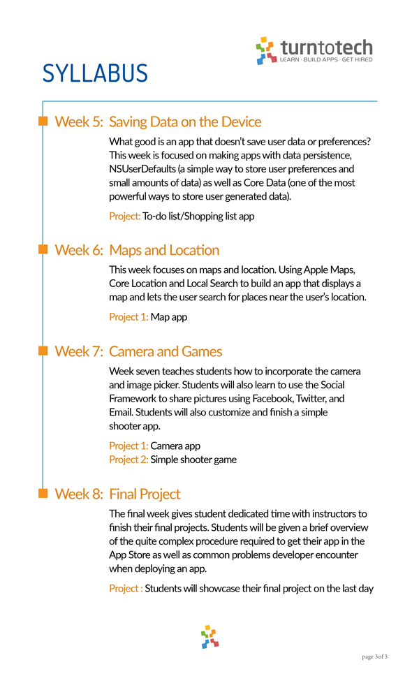 Intro to iOS Development with Swift (part-time, evening hours) Syllabus page 3
