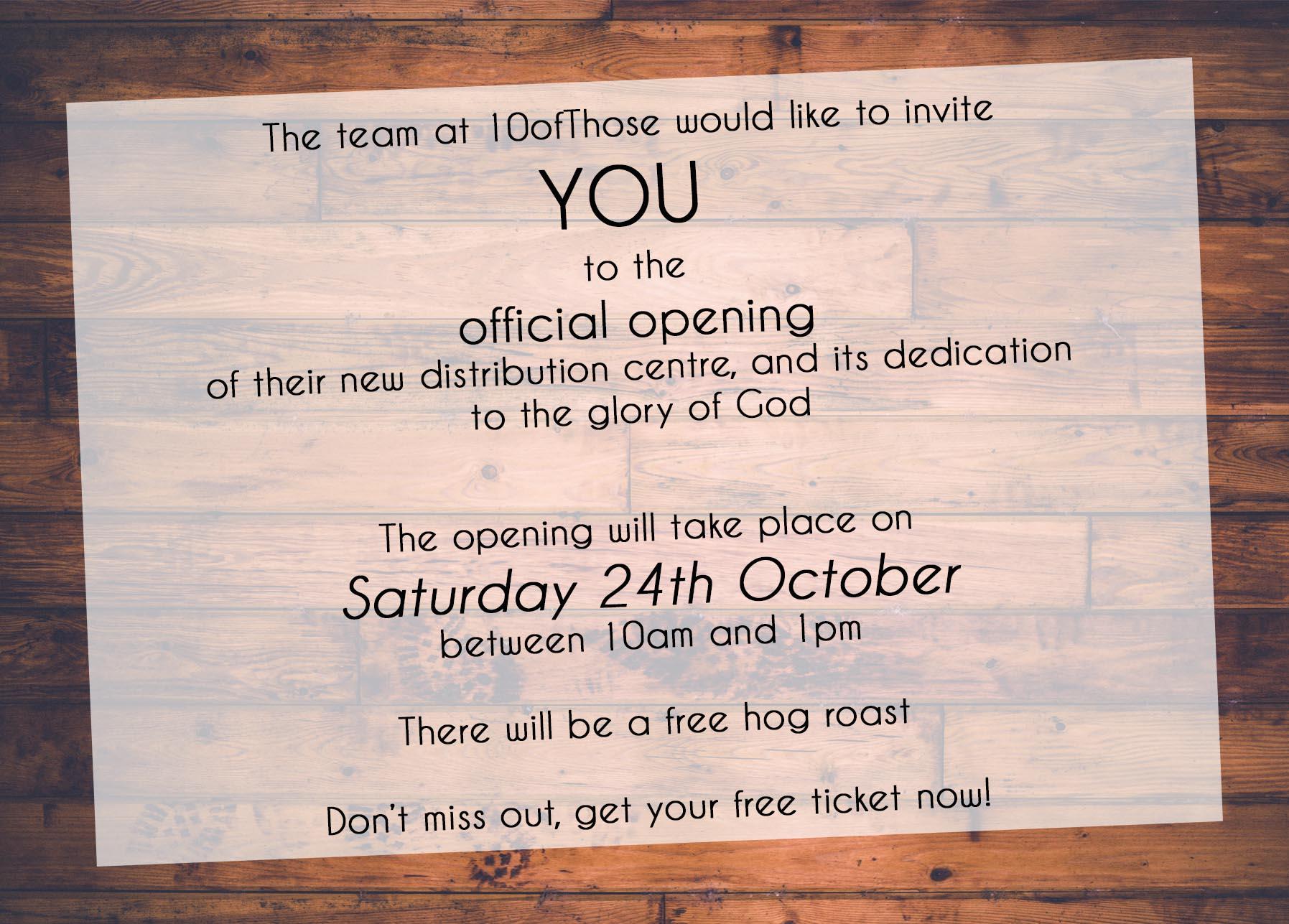 10ofThose Warehouse Opening Invite