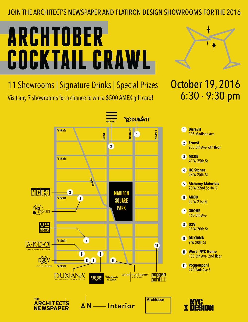 Archtober Crawl 2016 Map