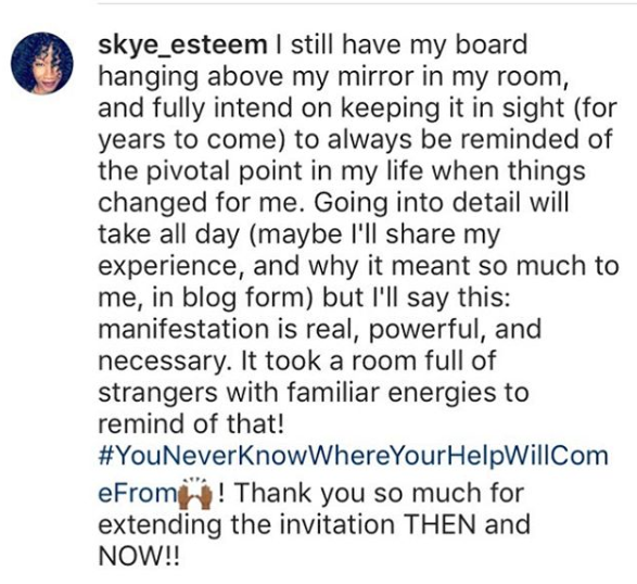 Client tells Instagram how much the Vision Board Experience changed her life