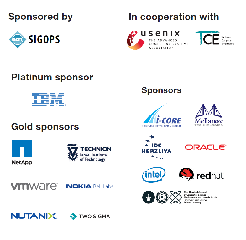 SYSTOR 2017 Sponsors