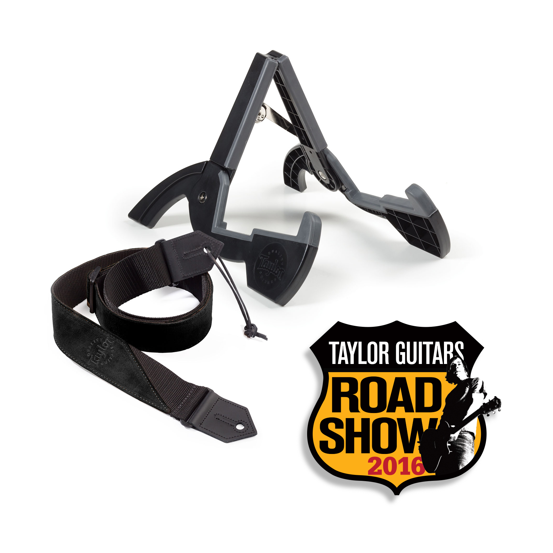 Get a Free Taylor Guitar Stand & Strap Buy a Taylor 100 Series guitar or higher at any Road Show, Find Your Fit or other select Taylor events now through December 31, 2016 and get a free Taylor travel stand and guitar strap Stand & Strap design may vary