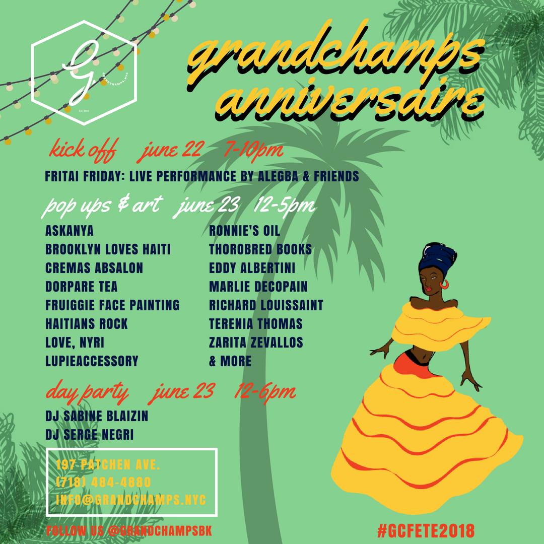 Grandchamps Anniversaire 2018 Lineup flyer