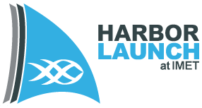 Harbor Launch at IMET logo, which is three triangles with the IMET fish / DNA design on it.