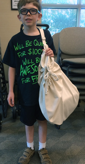 Young person with Duffel Bag