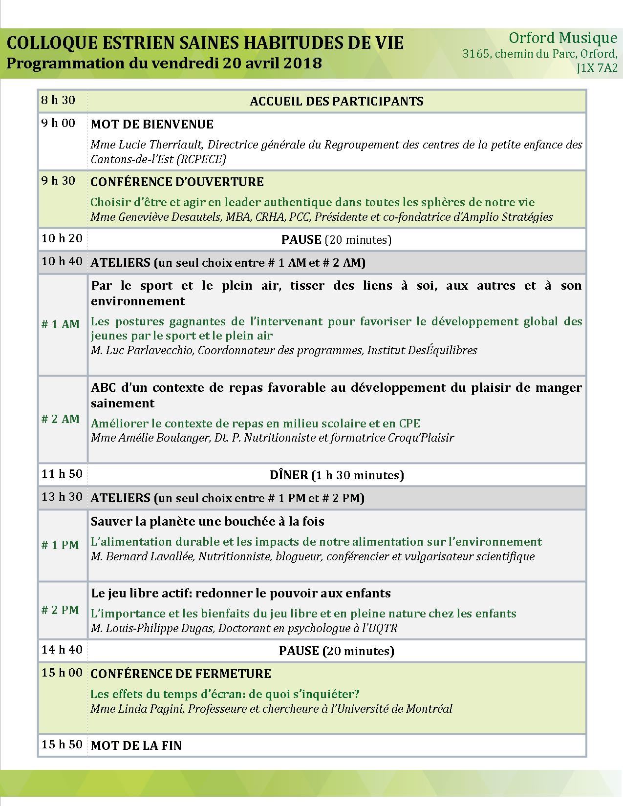 Programmation vendredi 20 avril 2018