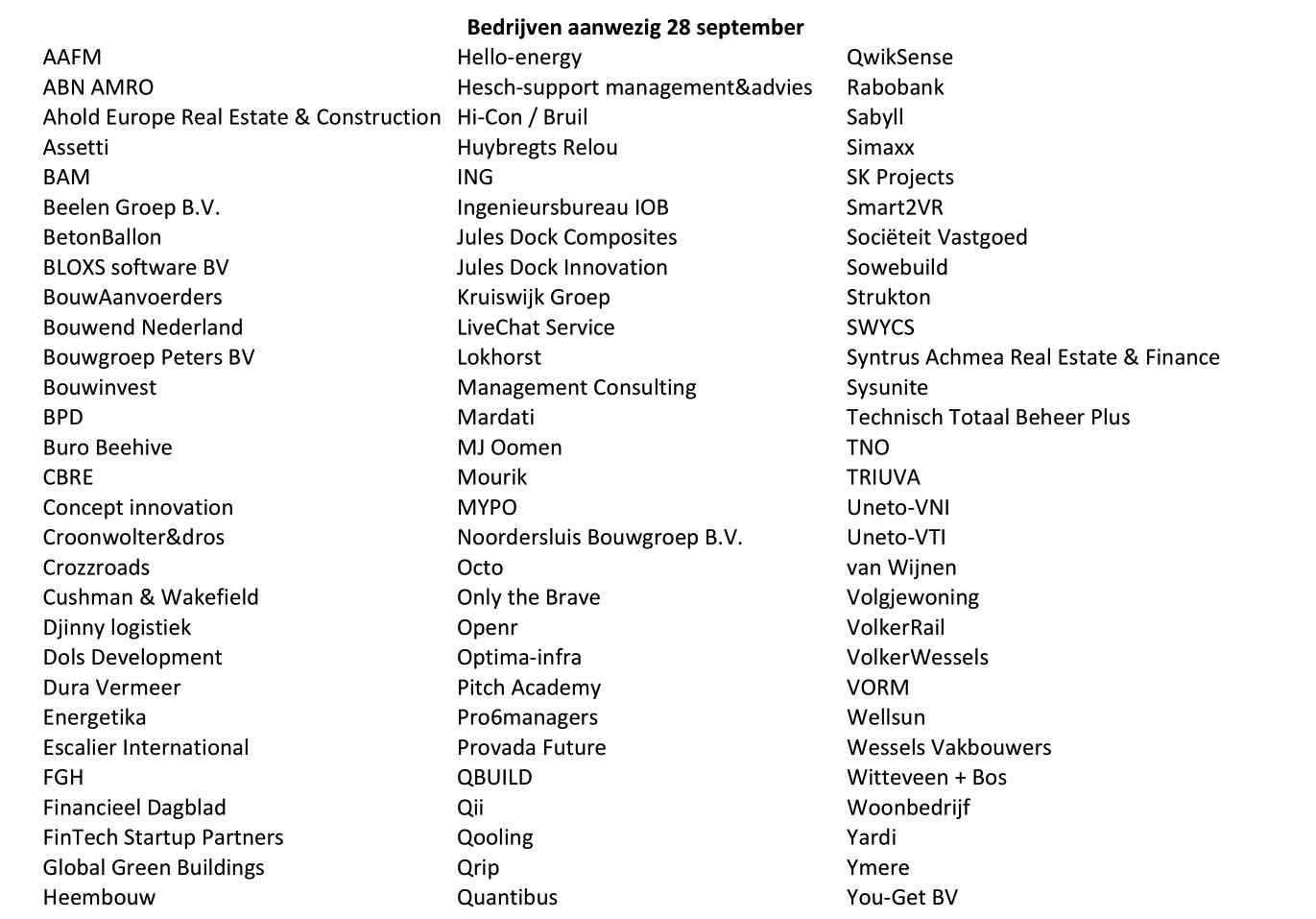 Bedrijven aanwezig 28 september