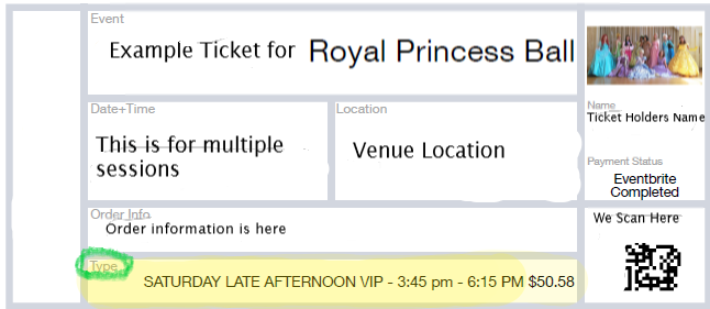 Example ticket, look at ticket type for your session