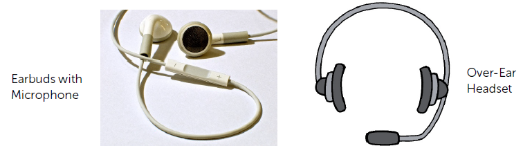 examples of earbuds and over-ear headsets