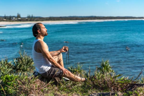 japa meditation by the beach