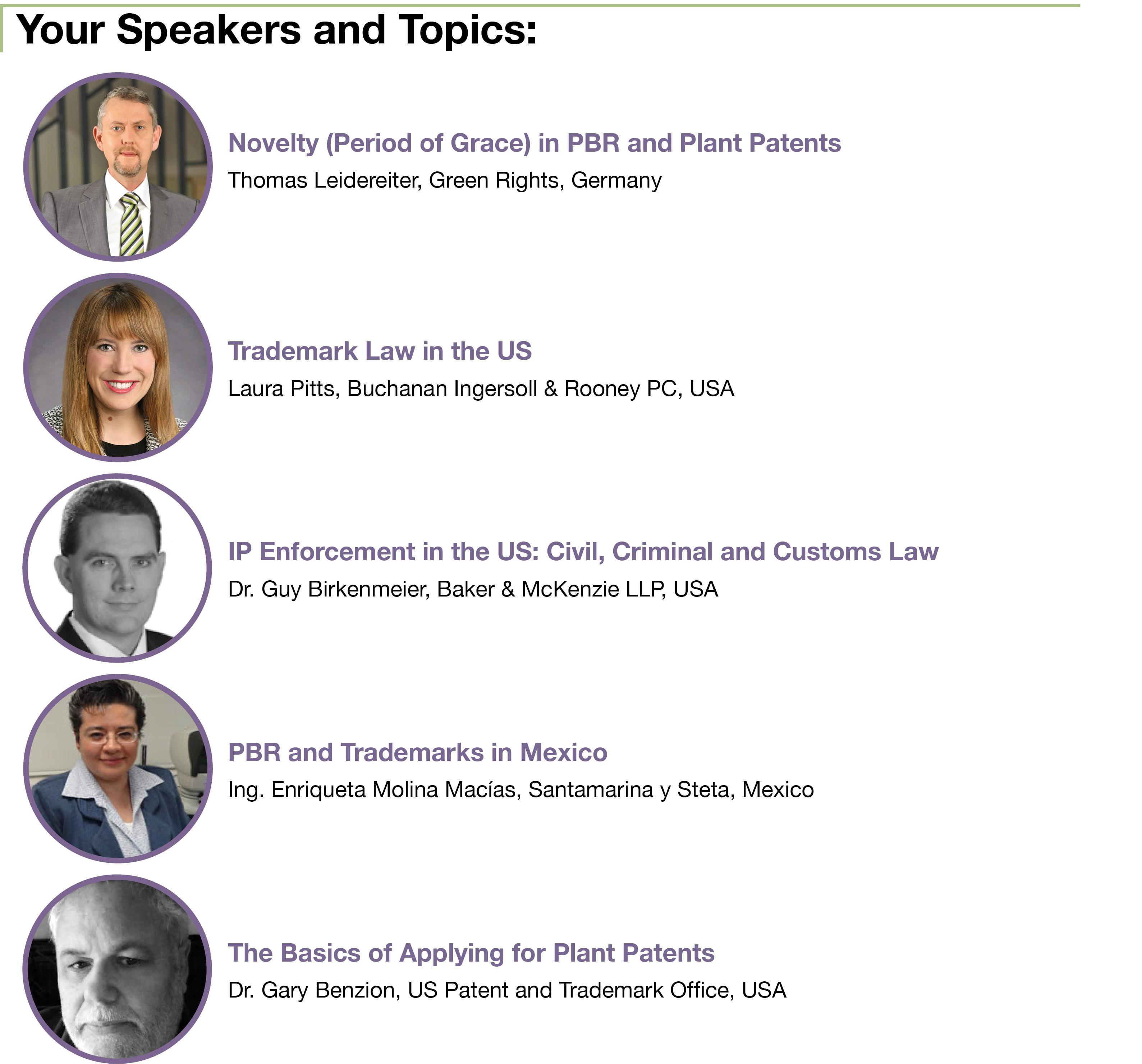 CIOPORA Academy Toronto Speakers and Topics