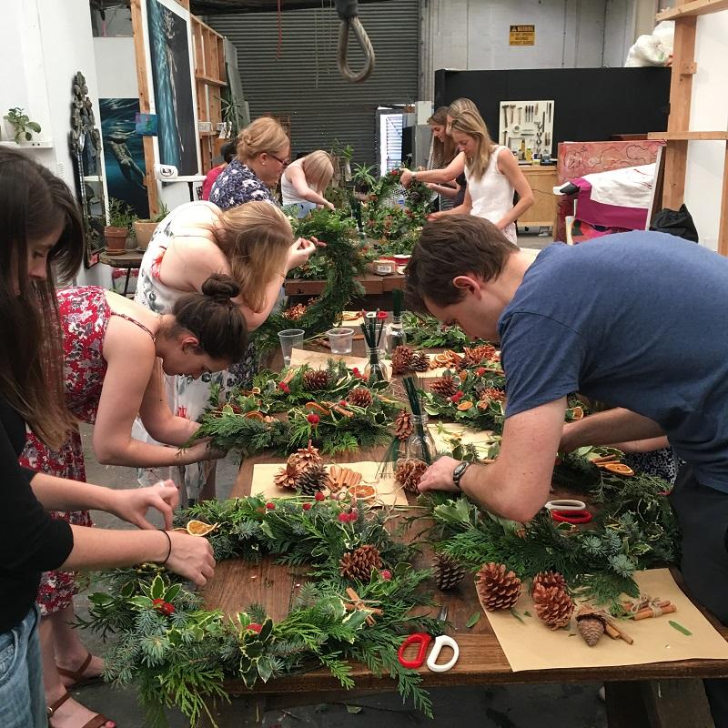 christmas wreath making workshop sydney