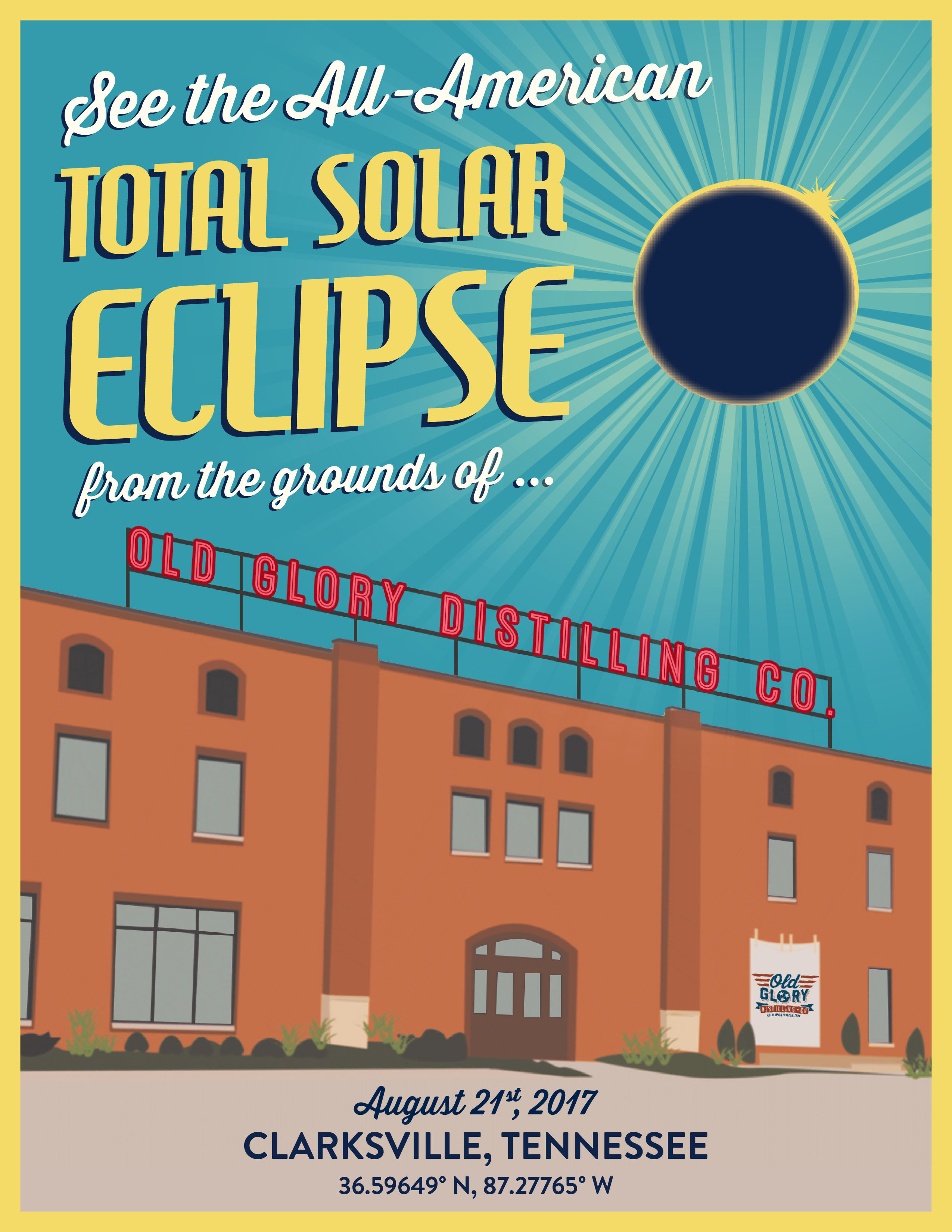 Old Glory Solar Eclipse Poster
