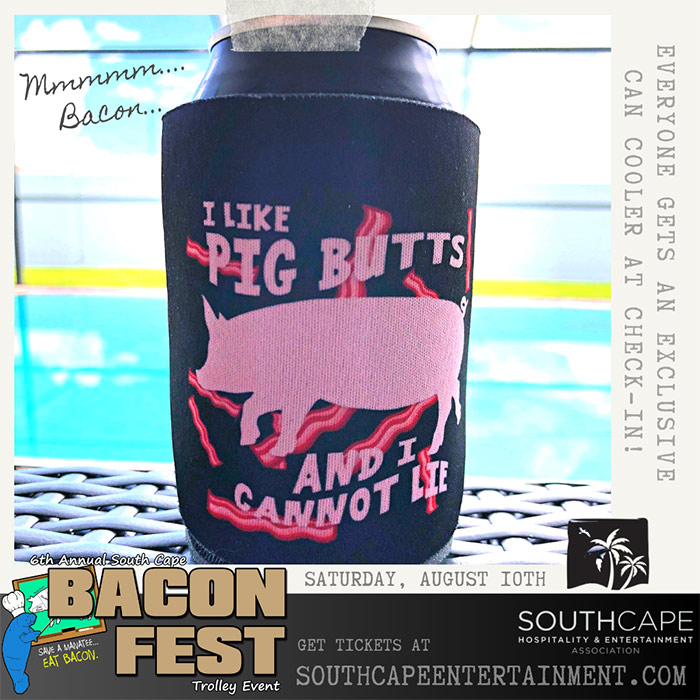 Free gift at check-in - an I Like Pig Butts can cooler