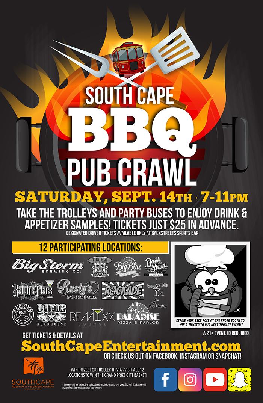 The BBQ Pub Crawl is September 14th
