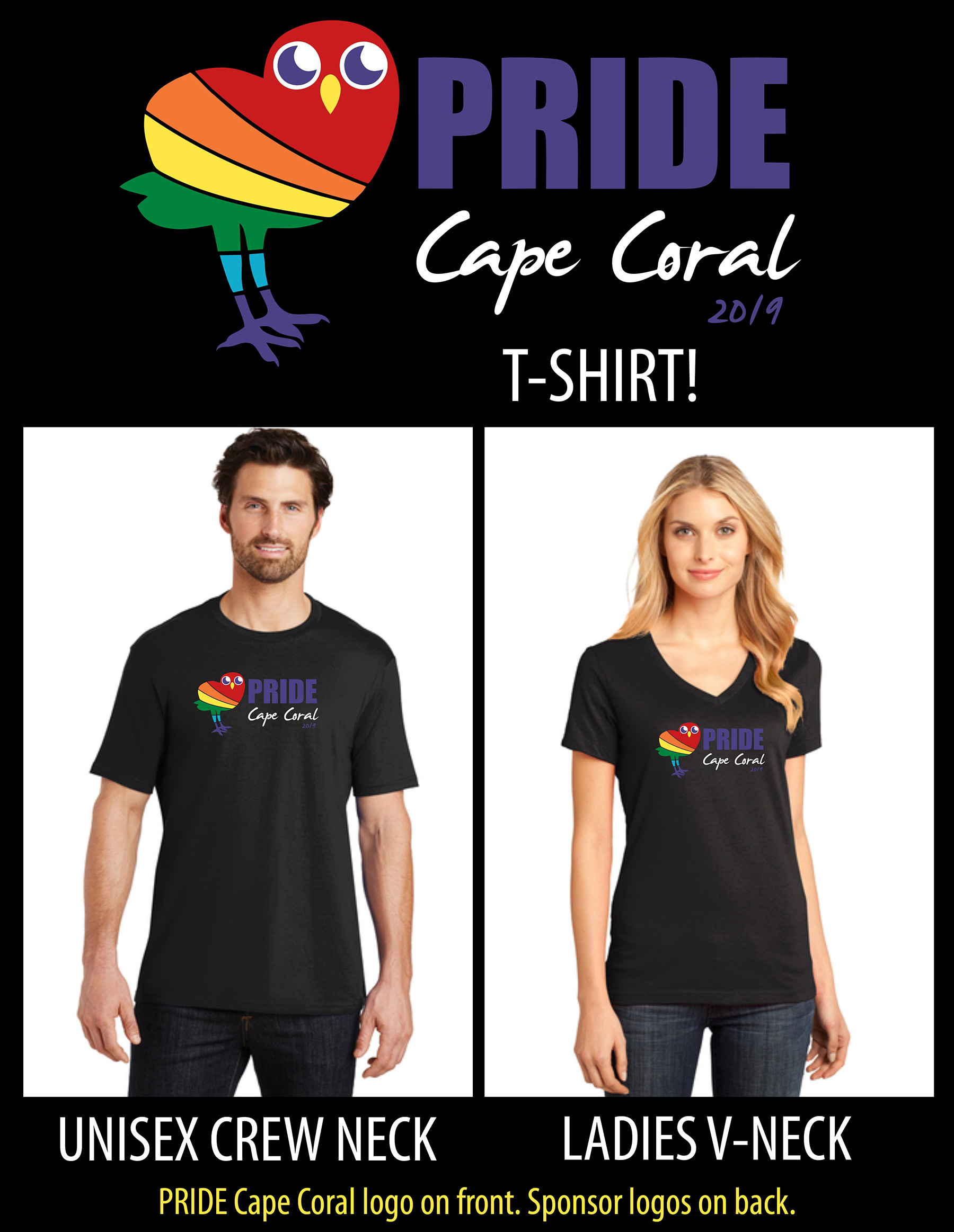 PRIDE T-Shirt - available in unisex crew or ladies V-neck