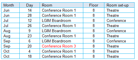 meeting room schedule 14 Jun to 18 Oct