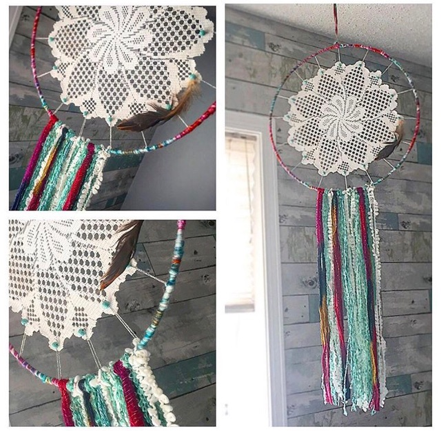 dreamcatcher made with a doilie, yarn and lace