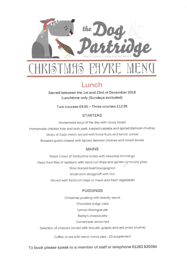 Dog & Partridge Christmas Lunch Menu