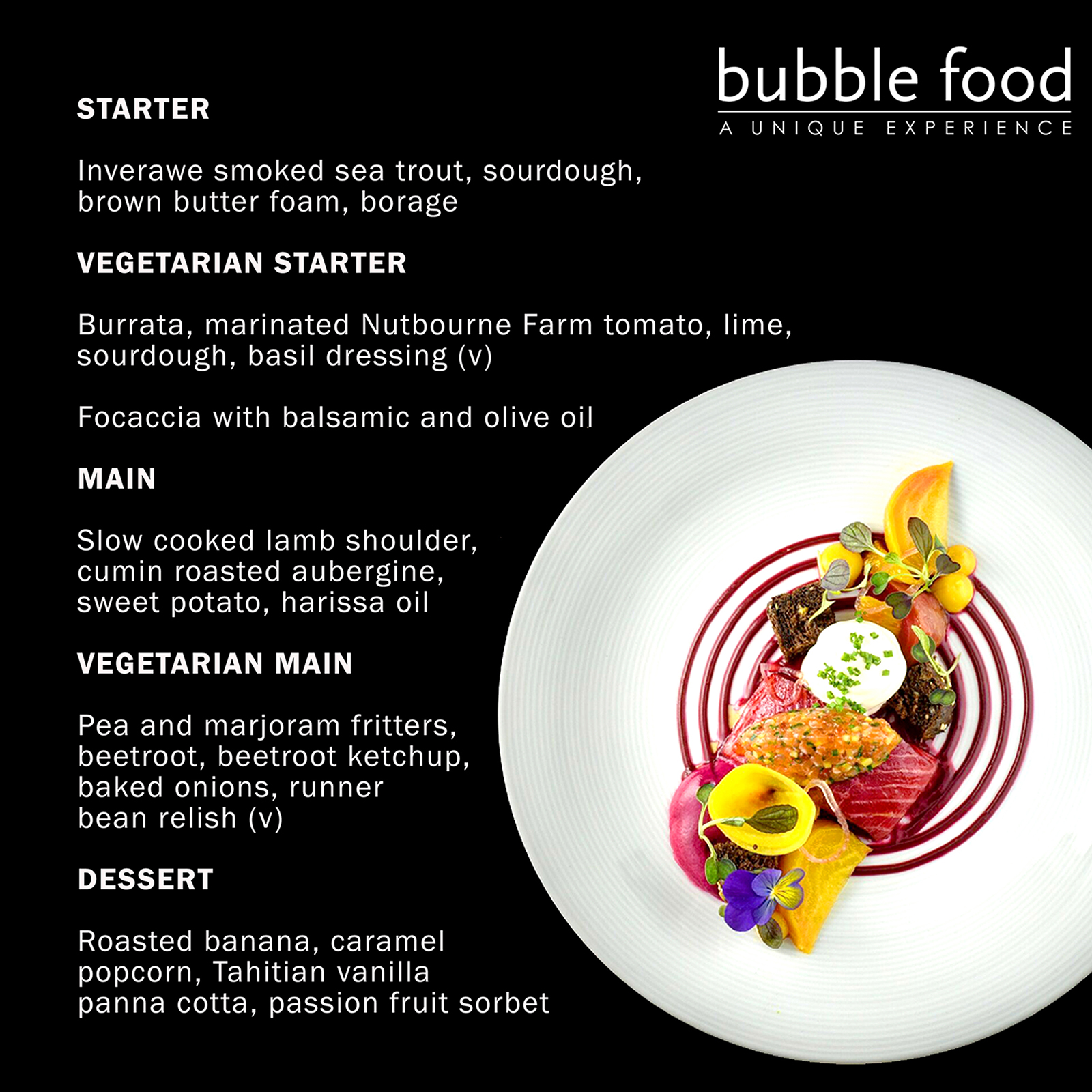 Bubble Fine dining menu