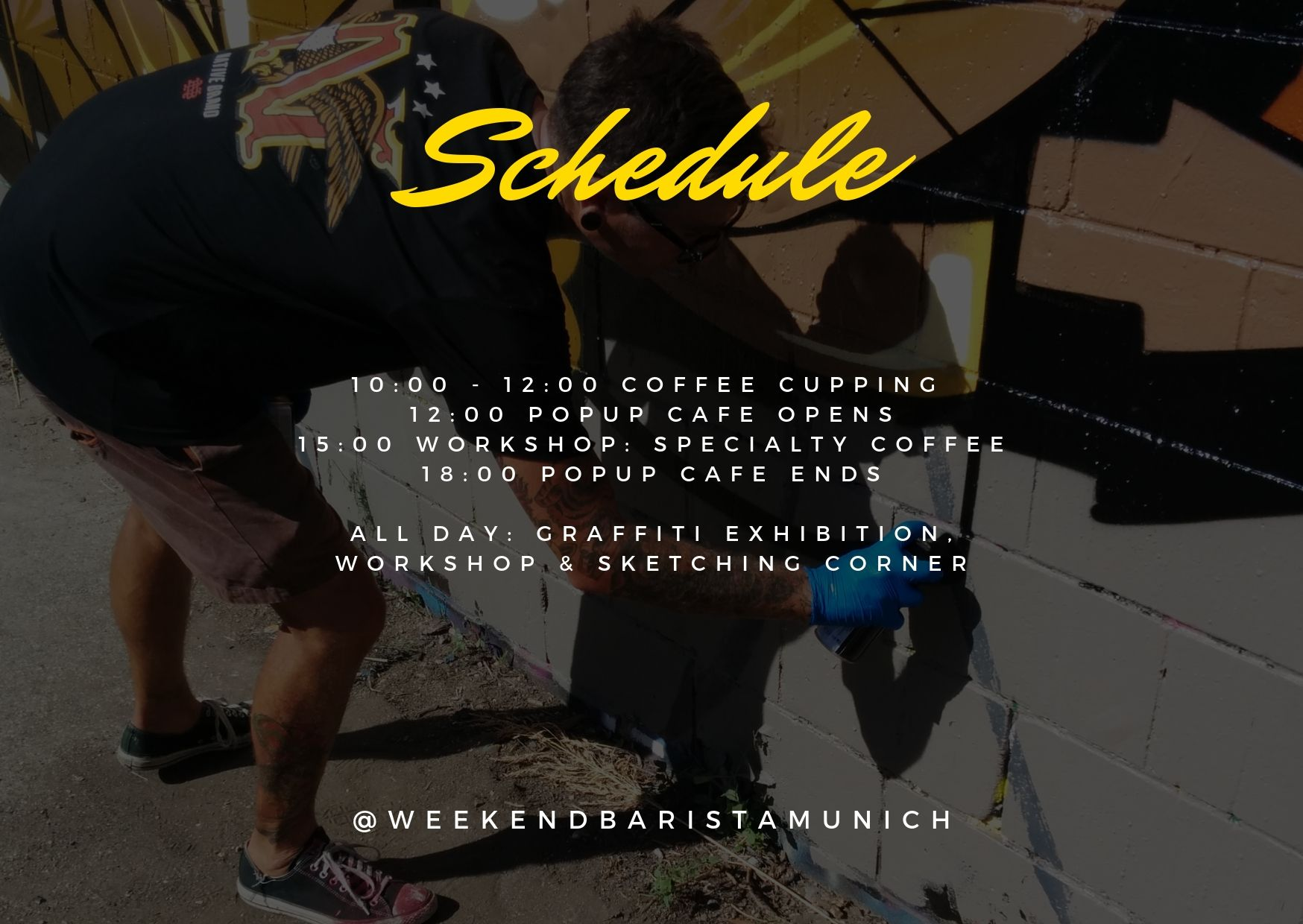 Schedule for Weekend Barista PopUp Cafe
