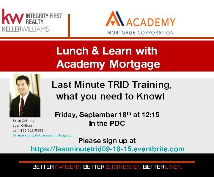 Lunch learn last minute trid training with academy for Learn mortgage