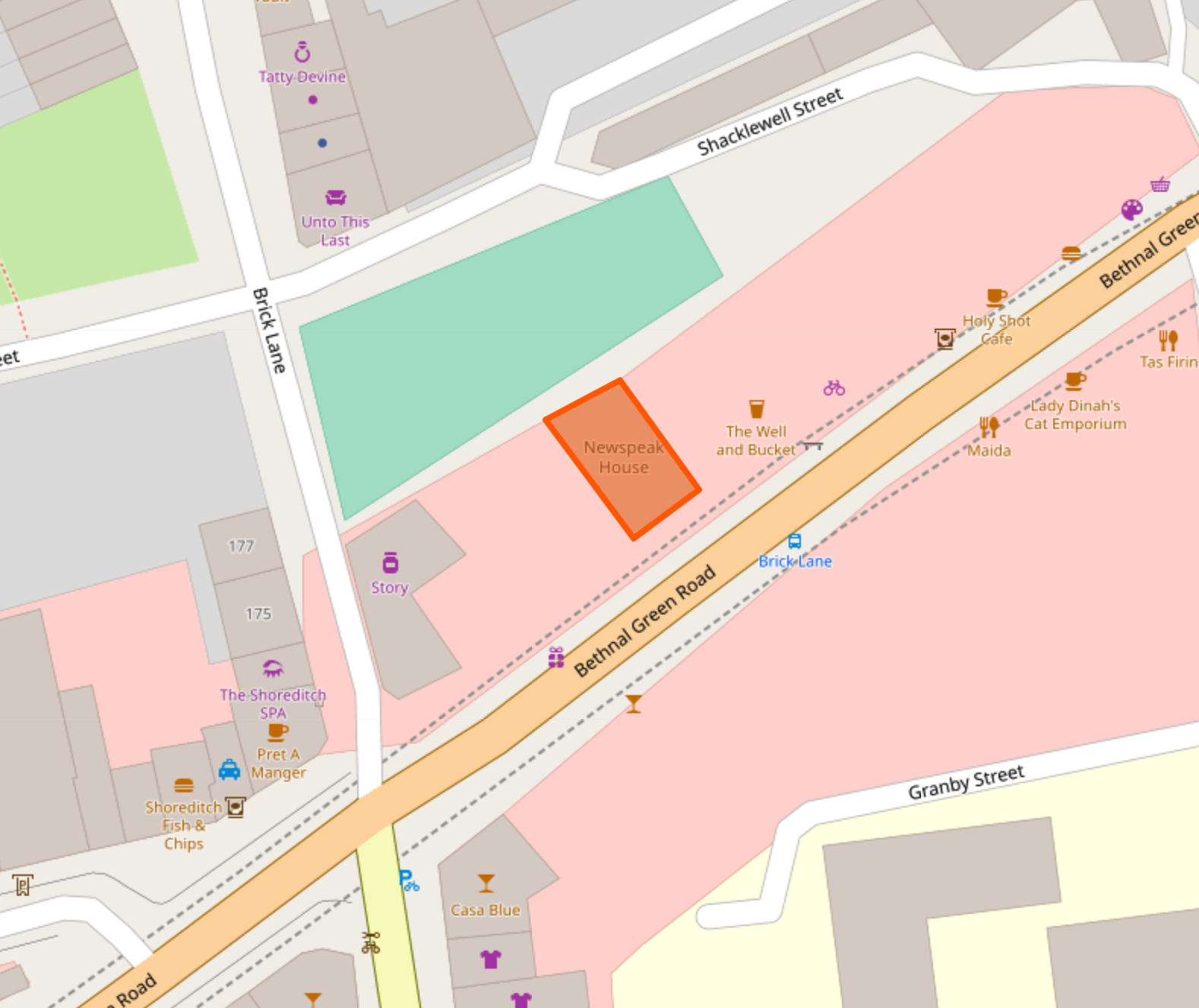map of near Brick Lane