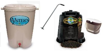 Rain Barrel, Compost Turner, Composter and Kitchen Collector