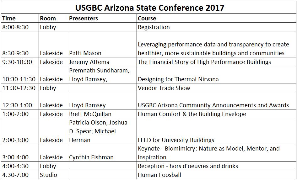 2017 USGBC AZ State Conference Agenda