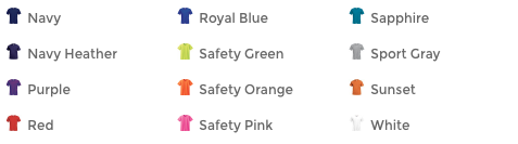 tshirt color options 2