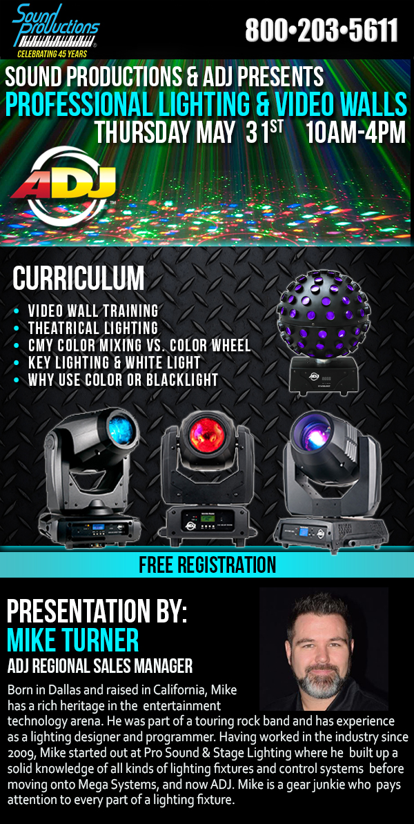 TX - ADJ Professional Lighting & Video Walls @ Sound Productions Inc | Irving | Texas | United States