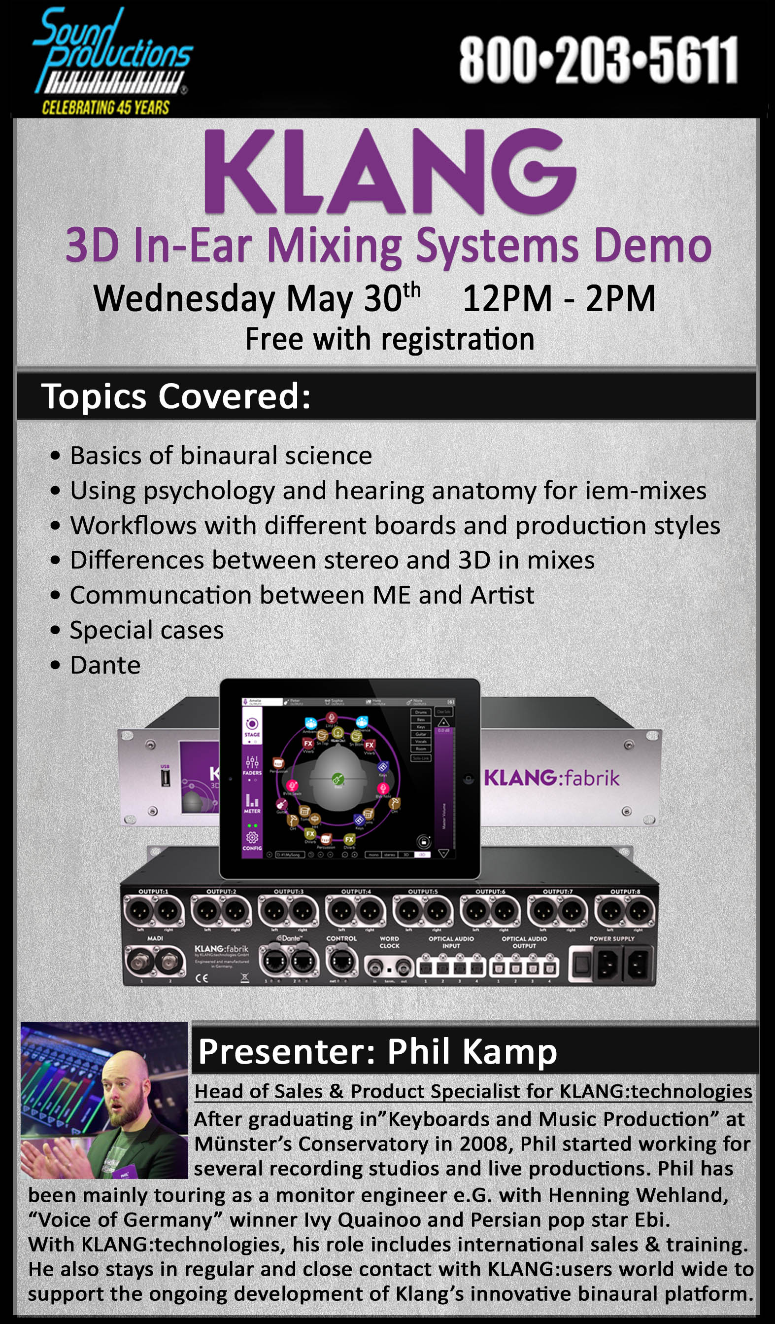 TX - KLANG:quelle 3D In-Ear Mixing Systems Demo @ Sound Productions Inc | Irving | Texas | United States