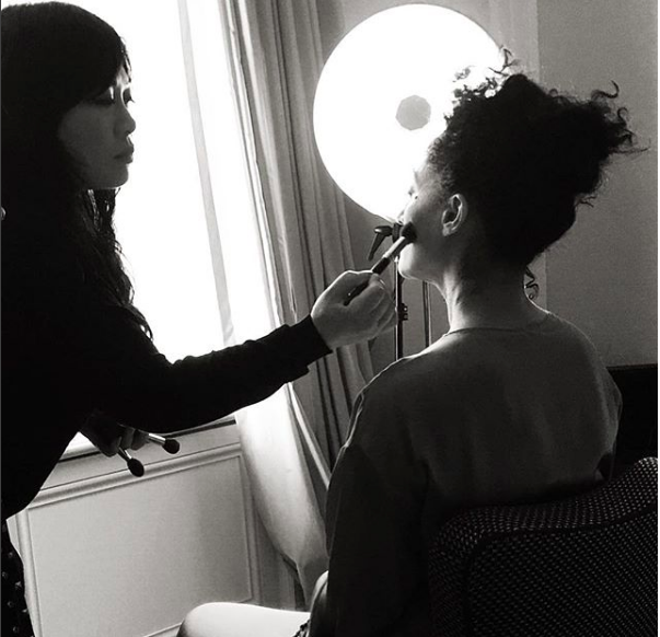 Tracee Eliis Ross getting her makeup done by Mylah