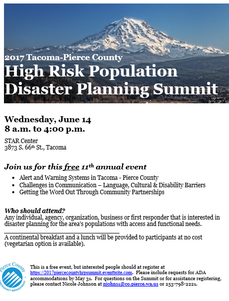 Flyer for Tacoma Pierce County Summit with dates and image of Mt. Rainier