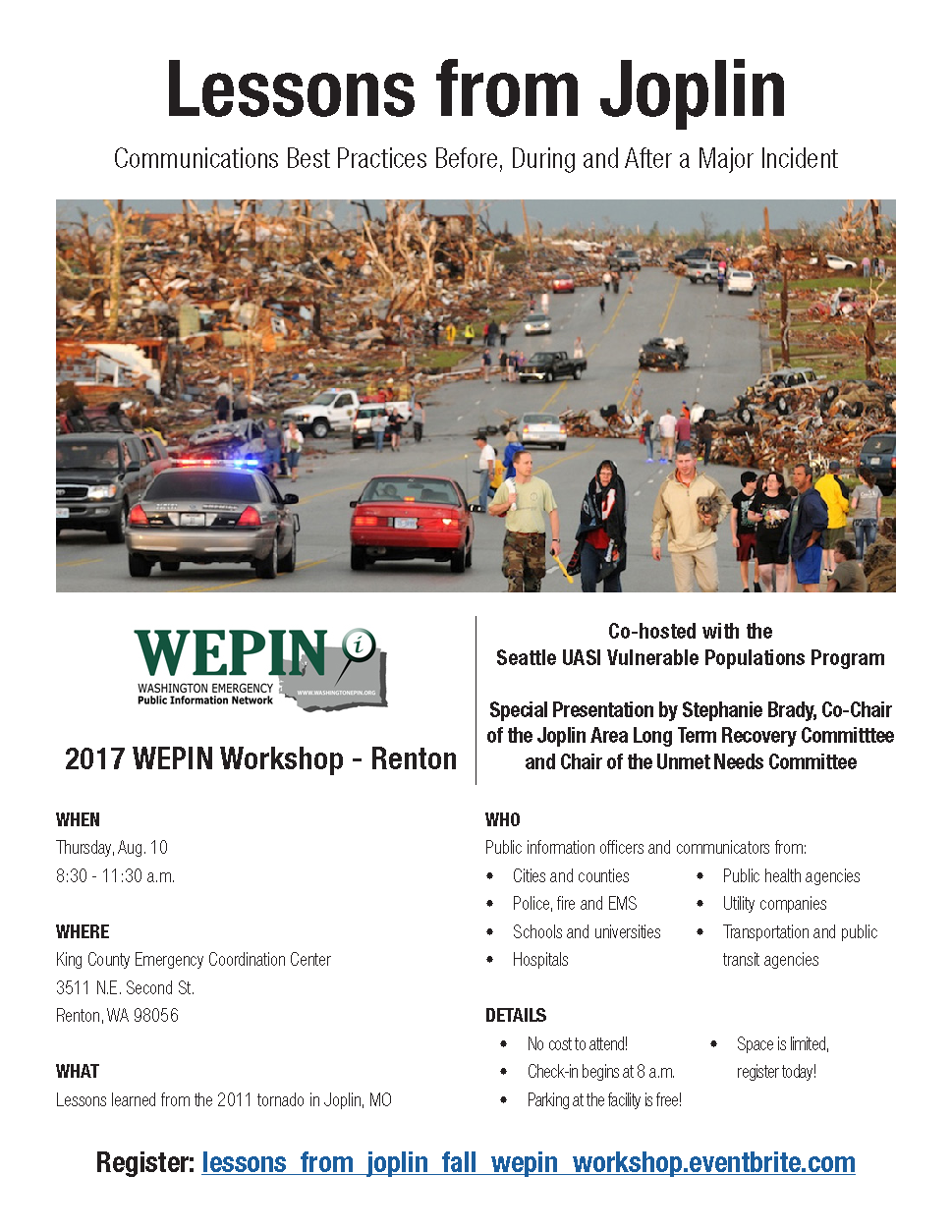 Image of the event flyer to include image of damaged neighborhood from Joplin MO