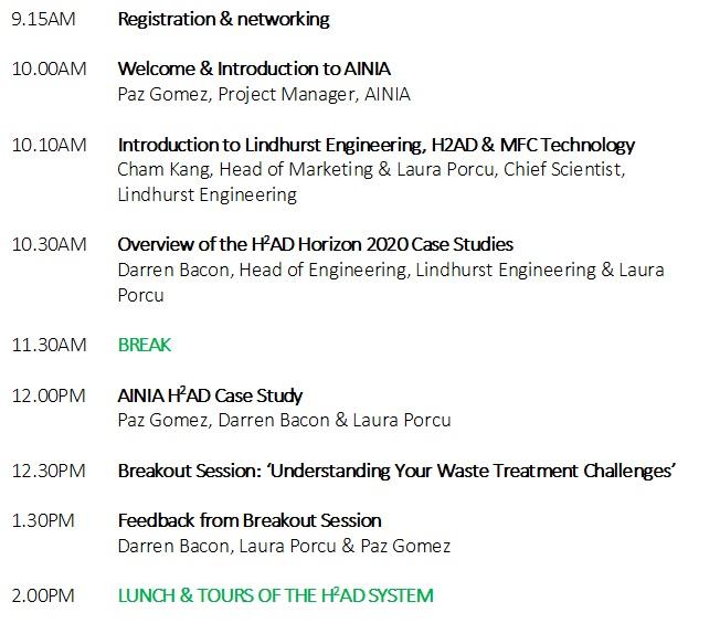20th October 2017 H2AD Event Agenda