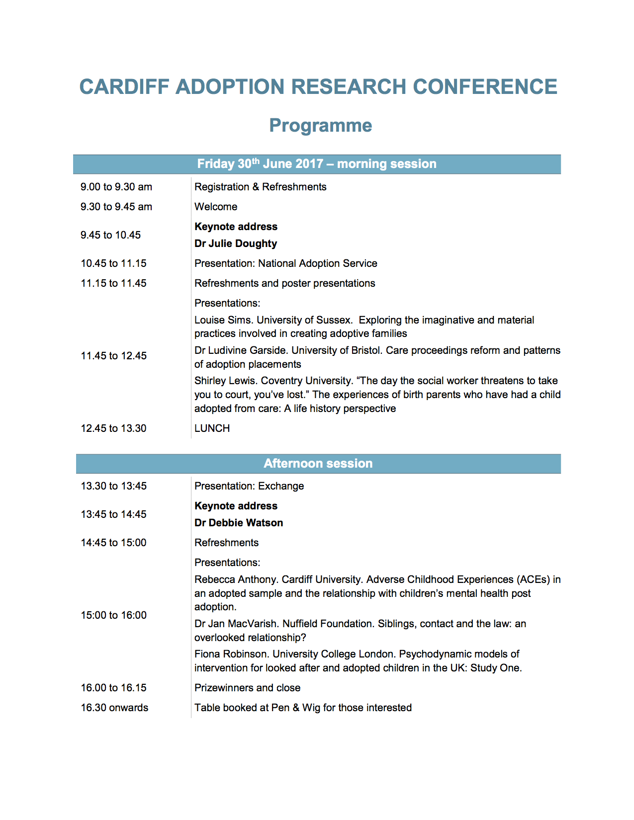 Cardiff Adoption Research Conference DRAFT programme