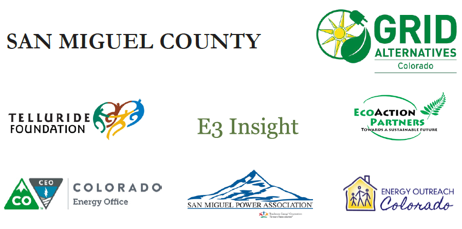 San Miguel County, GRID Alternatives Colorado, Telluride Foundation, E3 Insight, EcoAction Partners, Colorado Energy Office, San Miguel Power Association, Energy Outreach Colorado