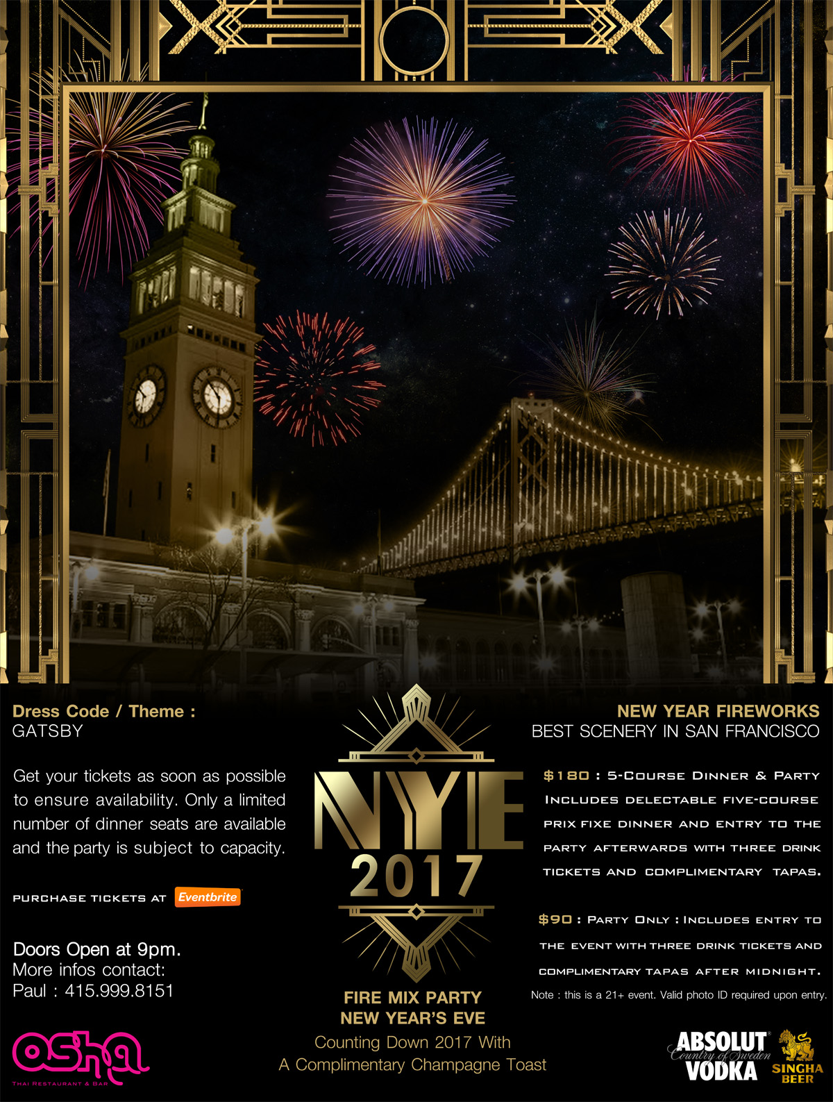 New Year's Eve at Osha Thai - Ring in 2017! Tickets, Sat, Dec 31 ...