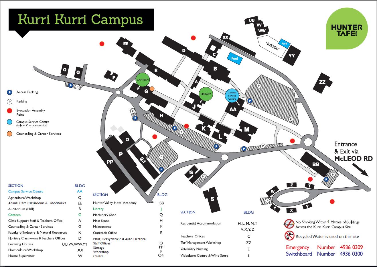 Map of Kurri Kurri Tafe campus