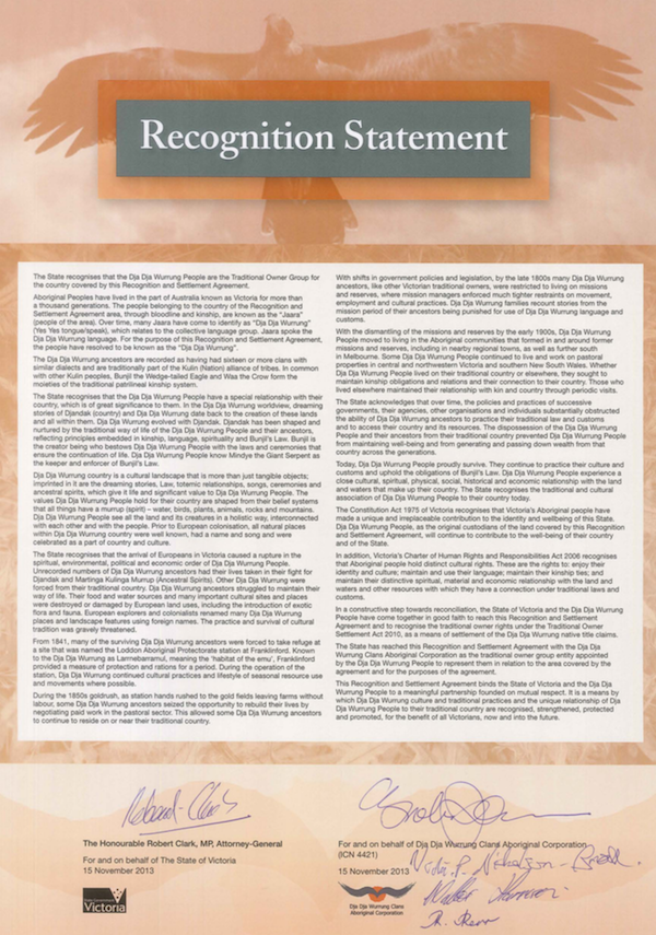 Dja Dja Wurrung Recognition Statement 2013