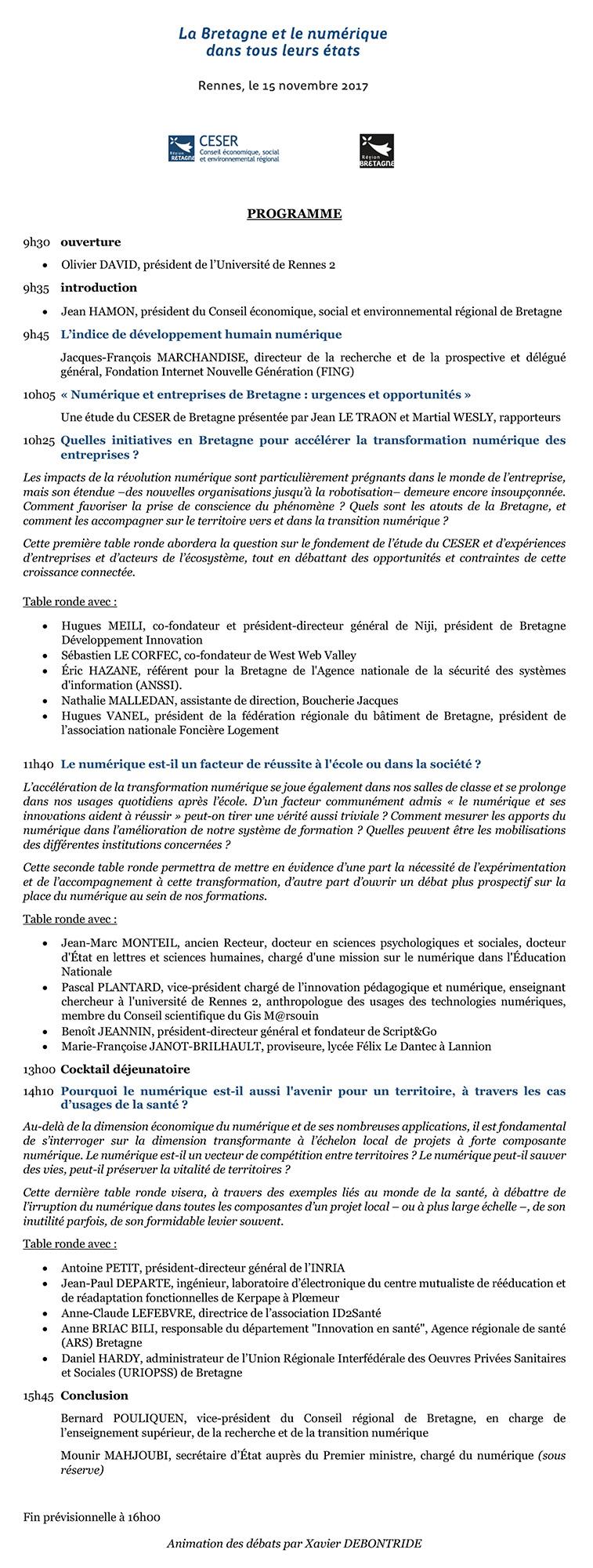 programme au 30/10/2017