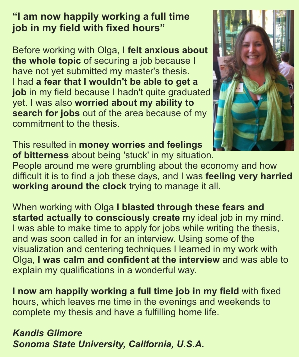 Client's testimonial about getting an ideal job while working with Olga