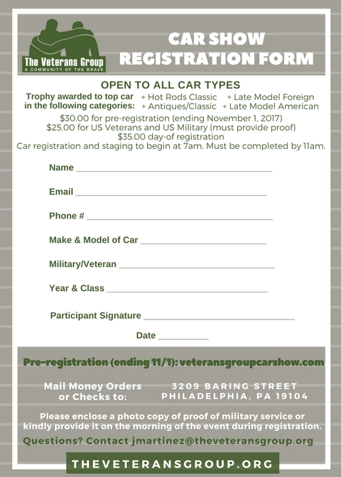 Veterans Group Car Show Registration Form