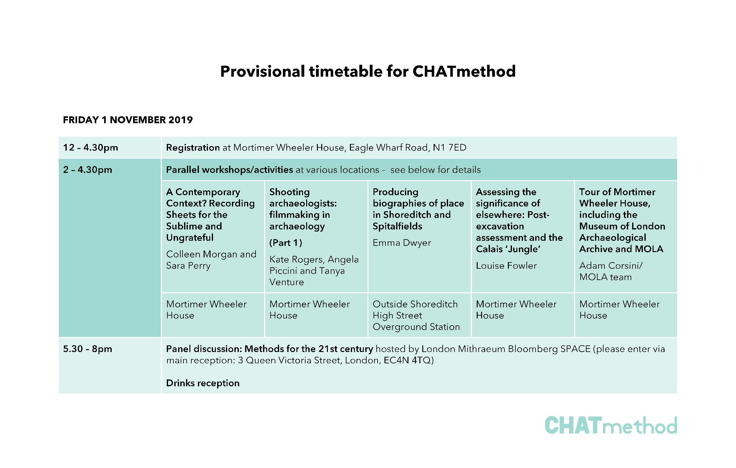 CHATmethod provisional timetable - Day 1