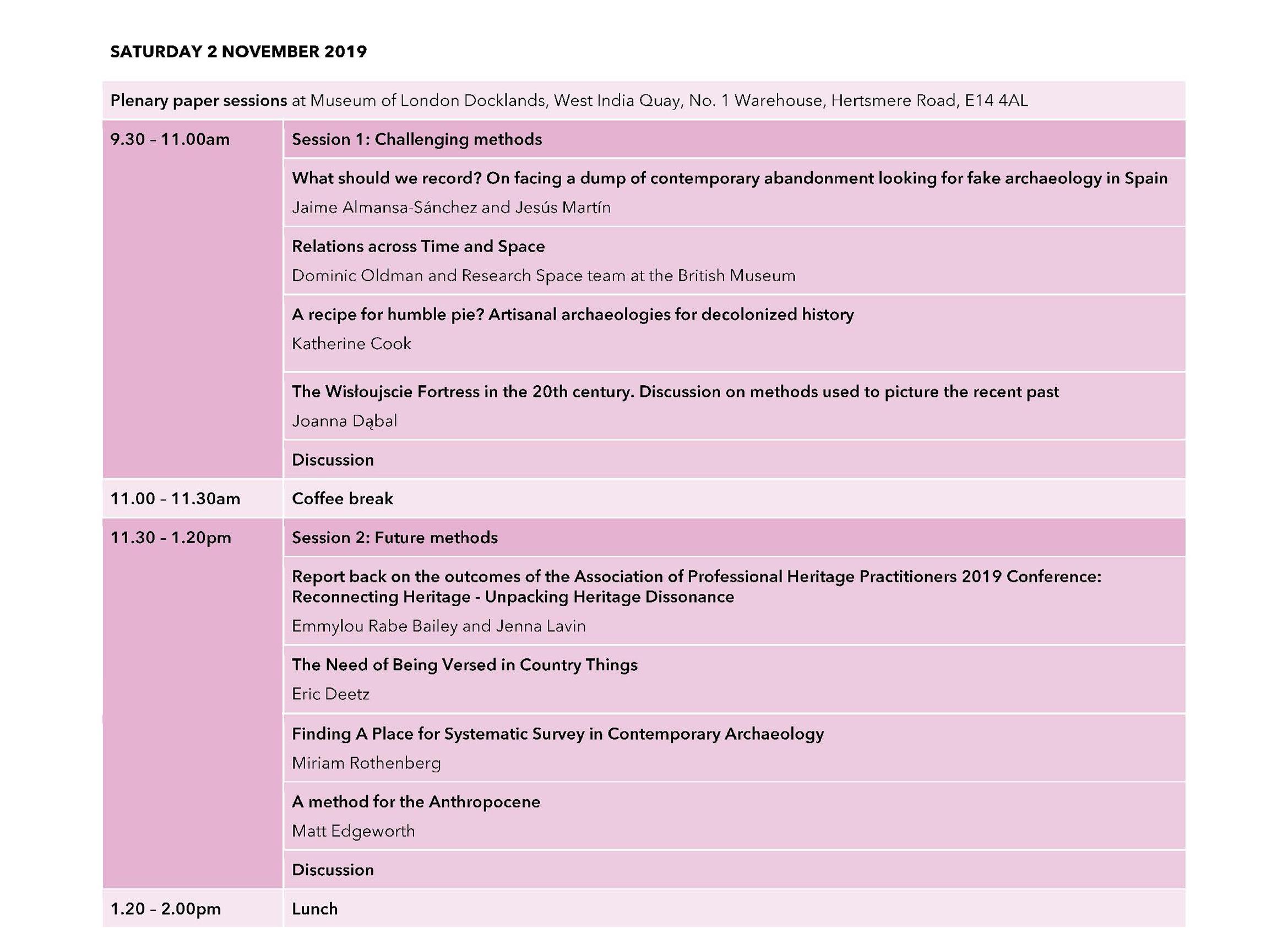 CHATmethod provisional timetable - Day 2